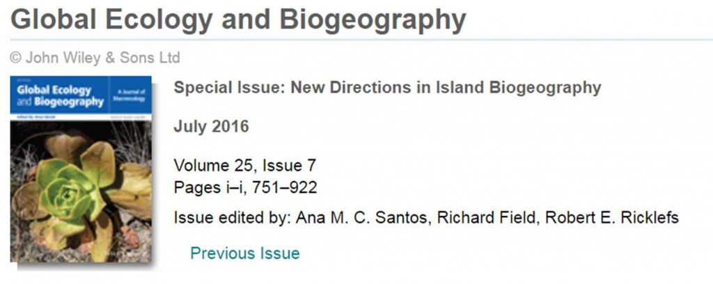 "Special Issue ""New Directions in Island Biogeography"""