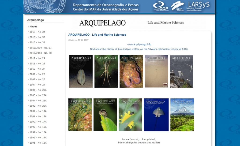 "Important contribution of Azorean Biodiversity members to the volume 34 of the ""Arquipelago - Life and Marine Sciences"""